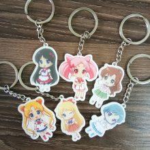 6pcs/set Portachiavi Anime Keychain Sailor Moon Keychain Sailor Moon Mercury Mars Jupiter Venus Pendant Keyring  llavero